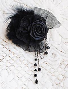손으로 만든 검은 색 새틴은 tassels와 organza 꽃 브로치 고딕 양식의 장미