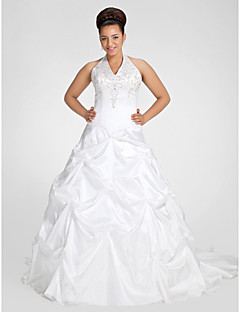 Lan Ting Ball Gown Plus Sizes Wedding Dress - White Chapel Train V-neck Taffeta