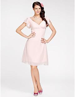Lan ting nevěsta koleno šifon družička šaty - a-line / princezna v-krk plus velikost / drobné s criss cross