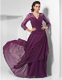 Formal Evening / Military Ball / Wedding Party Dress - Elegant Plus Size / Petite Sheath / Column V-neck Floor-length Chiffon withBeading