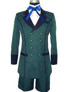 Inspired by Black Butler Ciel Phantomhive Anime Cosplay Costumes Cosplay Suits Solid Green Long Sleeve Coat Shirt Shorts Cravat For