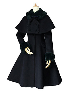 Manteau Gothique Lolita Cosplay Vêtrements Lolita Noir Blanc Bleu Couleur Pleine Manches longues Moyen Manteau Pour Velours