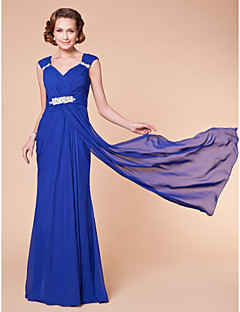Sheath/Column Plus Sizes Mother of the Bride Dress - Royal Blue Floor-length Sleeveless Chiffon
