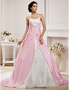Lanting Bride® Ball Gown Petite / Plus Sizes Wedding Dress - Classic & Timeless Wedding Dresses in Color Chapel Train Strapless Organza