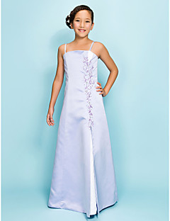 Lanting Bride® Floor-length Satin Junior Bridesmaid Dress A-line / Princess Spaghetti Straps Natural with Beading / Split Front