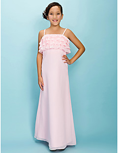 Lanting Bride® Floor-length Chiffon Junior Bridesmaid Dress A-line / Sheath / Column Spaghetti Straps Natural with Tiers
