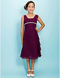 Vestido de Daminha de Honra - Uva Linha-A Quadrado Comprimento Médio Chiffon