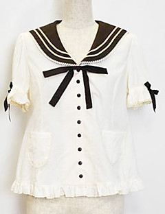 Short Sleeve White Cotton Sailor Lolita Blouse with Cute Bow