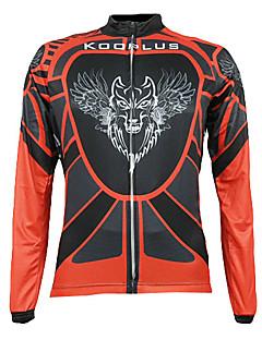 KOOPLUS® לגברים שרוול ארוך אופניים נושם / שמור על חום הגוף / ייבוש מהיר / רוכסן קדמי / לביש ג'רזי / צמרות 100% פוליאסטר סתיורכיבה על