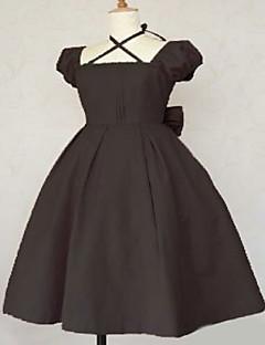 Short Sleeve Knee-length Brown Cotton Classic Lolita Dress