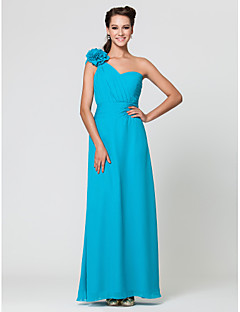 Wedding Party / Formal Evening / Military Ball Dress - Pool Sheath/Column One Shoulder / Sweetheart Floor-length Chiffon