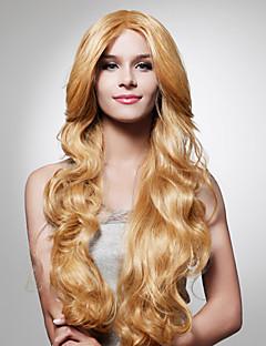 sin tapa larga luz dorada peluca morena de pelo rizado (0479-jf-3)