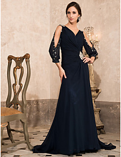 TS Couture Formal Evening / Military Ball Dress - Dark Navy Plus Sizes / Petite A-line / Princess V-neck Sweep/Brush Train Chiffon