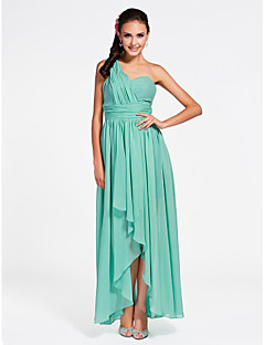 Ankle-length / Asymmetrical Chiffon Bridesmaid Dress Sheath / Column One Shoulder / Sweetheart Plus Size / Petite withDraping / Side
