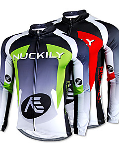 NUCKILY® Cycling Jersey Men's Long Sleeve Bike Thermal / Warm / Quick Dry / Fleece Lining / Ultraviolet Resistant Jersey / Tops100%