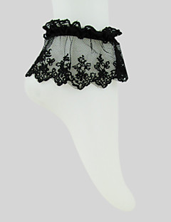 Black Cotton Lace Gothic Lolita  Ankle Socks