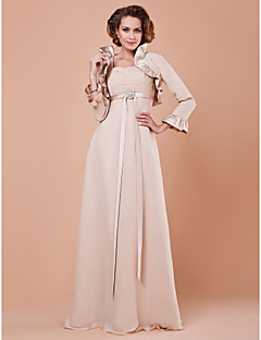 Sheath/Column Plus Sizes Mother of the Bride Dress - Champagne Floor-length 3/4 Length Sleeve Chiffon/Satin