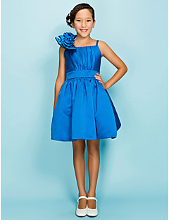 Knee-length Satin Junior Bridesmaid Dress A-line / Ball Gown Spaghetti Straps Natural with Draping / Flower(s) / Sash / Ribbon