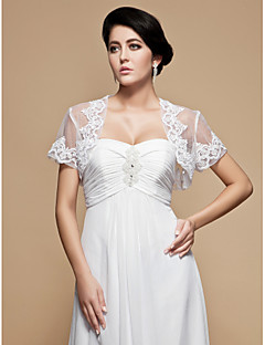 Wedding  Wraps Shrugs Short Sleeve Tulle White Wedding / Party/Evening 34cm Embroidery Open Front Yes