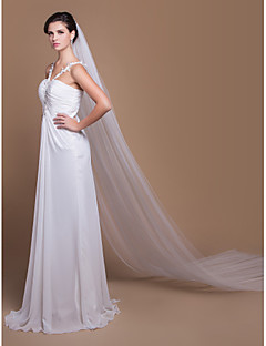 Wedding Veil Two-tier Cathedral Veils Cut Edge 129.92 in (330cm) Tulle White / IvoryA-line, Ball Gown, Princess, Sheath/ Column, Trumpet/