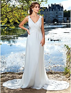 Military Ball/Formal Evening Dress - Ivory Plus Sizes A-line/Princess V-neck/Straps Floor-length/Watteau Train Satin Chiffon