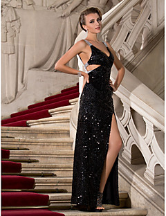 Formal Evening / Military Ball Dress - Black Plus Sizes / Petite Sheath/Column V-neck / Straps Floor-length Sequined