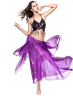 Belly Dance Outfits Women's Performance Chiffon Coins Purple Belly Dance / Performance Spring, Fall, Winter, Summer Dropped