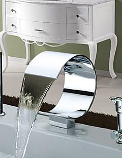 現代風 ローマンバスタブ 滝状吐水タイプ ワイドspary with  セラミックバルブ 二つのハンドル三穴 for  クロム , 浴槽用水栓