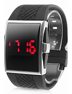 Men's Watch Red LED Digital Rectangle Dial Silicone Strap Wrist Watch Cool Watch Unique Watch Fashion Watch