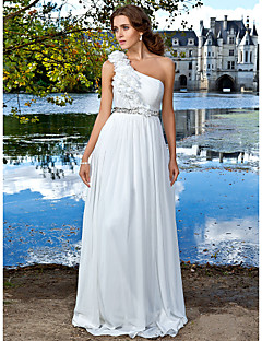 Formal Evening/Prom/Military Ball Dress - White Plus Sizes Sheath/Column One Shoulder Sweep/Brush Train Chiffon