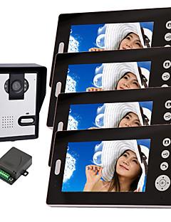 konx® drahtlose Nachtsicht-Kamera mit 7-Zoll-Türsprechanlage Monitor (1camera 4 Monitore)