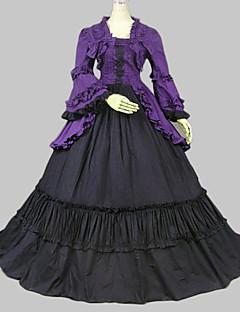 Langermet Gulv-lengde Purple Cotton Classic Lolita Dress