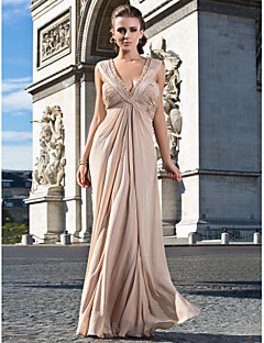 Formal Evening/Military Ball Dress Sheath/Column V-neck Floor-length Chiffon