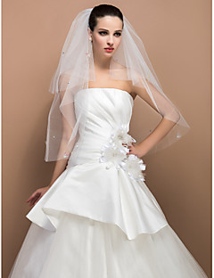 Two-tier Elbow Cut Edge Wedding Veil With Paillette And Butterfly