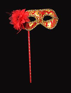 Elegante Blume und Sequin Red PVC Urlaub Halbmaske