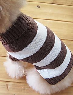 Коты / Собаки Свитера Коричневый Одежда для собак Зима Полоски Мода / Сохраняет тепло