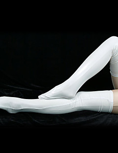 White Shiny Metallic Long Stockings(2 Pieces)