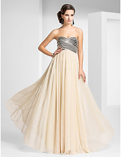 Prom Formal Evening Military Ball Dress - Open Back Sheath / Column Strapless Sweetheart Floor-length Tulle with Draping Criss Cross