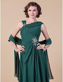 Lyhyt naisten takki Shaalit Hihaton Sifonki Tumman vihreä Häät / Juhlat/Ilta Leveä kaulus 39cm Laskostettu Edestä auki