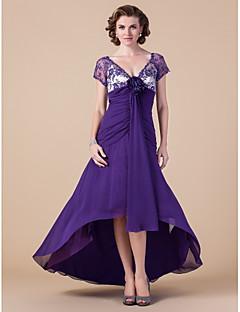 -line v-neck asymetrické šifónová matka nevěsty šaty