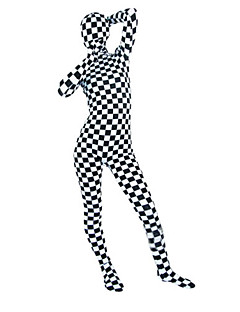 Black and White Check Pattern Unisex Lycra Zentai Suit