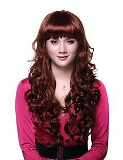 Sin tapa rizada roja larga de alta calidad de las pelucas sintéticas