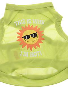 כלבים טי שירט ירוק בגדים לכלבים קיץ מכתב ומספר