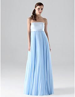 신부 들러리 드레스 - 스카이 블루 시스/컬럼 바닥 길이 스트랩 없음 쉬폰 플러스 사이즈