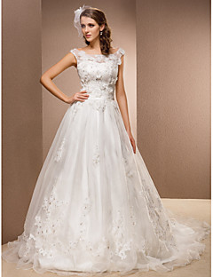 A-line Plus Sizes Wedding Dress - Ivory Chapel Train Scoop Organza/Lace