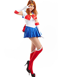 Inspired by Sailor Moon Sailor Moon Anime Cosplay Costumes Cosplay Suits Patchwork Sleeveless Cravat Dress Gloves Stockings Ribbon For