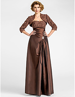 A-line Plus Sizes / Petite Mother of the Bride Dress - Chocolate Floor-length 3/4 Length Sleeve Taffeta / Lace