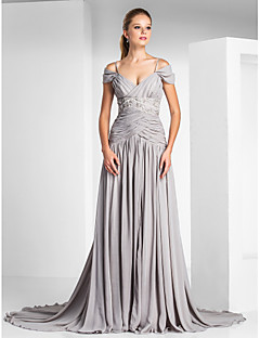 Formal Evening Dress - Silver Plus Sizes A-line/Princess Off-the-shoulder/Spaghetti Straps Court Train Chiffon/Charmeuse