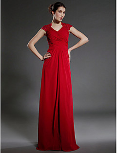 Lanting Sheath/Column Plus Sizes / Petite Mother of the Bride Dress - Ruby Floor-length Sleeveless Chiffon