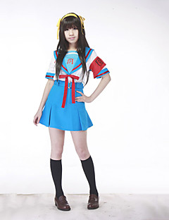 Inspired by Suzumiya Haruhi Haruhi Suzumiya Anime Cosplay Costumes Cosplay Suits School Uniforms Patchwork Short SleeveTop Skirt Belt